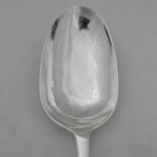 Super armorial Queen Anne Britannia silver dog nose basting spoon London 1707 Thomas Spackman