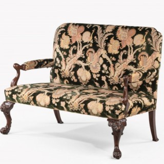 George III Style Mahogany Framed Sofa.