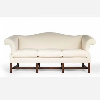 An Attractive Mahogany Framed Camelback Sofa in the Manner of Thomas Chippendale
