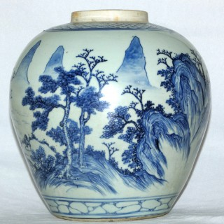 Kangxi / Transitional Blue and White jar Painted with Master of The Rocks pattern