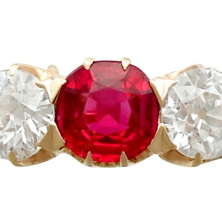 1.10 ct Diamond and Synthetic Ruby, 14 ct Yellow Gold Trilogy Ring - Antique Circa 1900