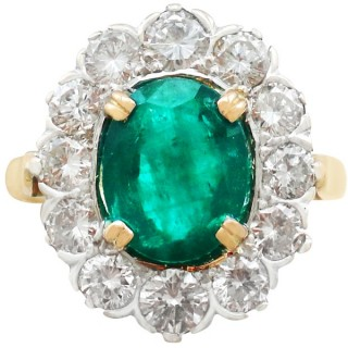 2.90ct Emerald and 2.38ct Diamond, 18ct Yellow Gold Cluster Ring - Vintage French