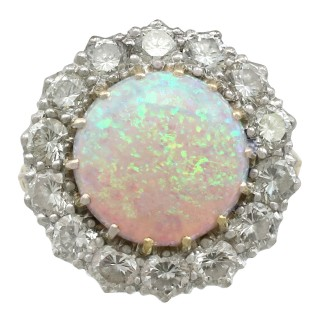 3.55 ct Opal and 2.68 ct Diamond, 18 ct Yellow Gold Dress Ring - Contemporary 1999