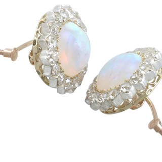 7.76 ct Opal and 2.05 ct Diamond, 9 ct Yellow Gold Clip On Earrings - Antique Victorian