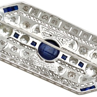 4.05 ct Diamond and 4.20 ct Sapphire, Platinum Brooch - Art Deco Style - Vintage and Antique