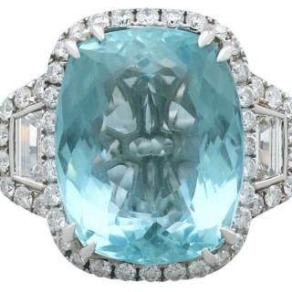 15.01 ct Aquamarine and 3.28 ct Diamond, 18 ct White Gold Dress Ring - Vintage Circa 1990