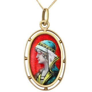 Enamel and 18 ct Yellow Gold Pendant - Antique French Circa 1900