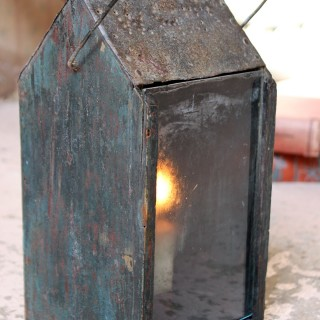 A Primitive Painted Pine & Tin Hand-Lantern c.1830-40