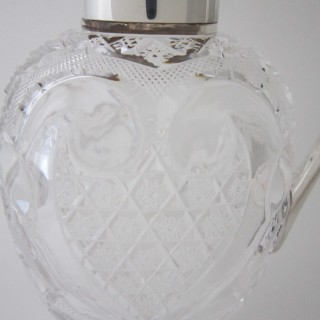 Antique Victorian Sterling silver and cut glass claret jug