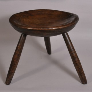 Antique 19th Century Ash Dish Top Circular Stool