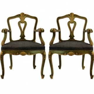 PAIR OF VENETIAN PAINTED & GILDED ARMCHAIRS