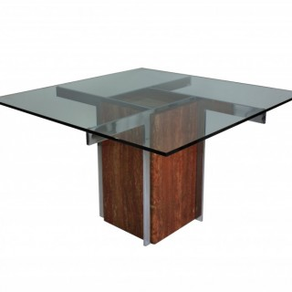A MARBLE & CHROME MODERNIST DINING TABLE