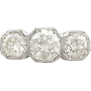 1.49ct Diamond and Platinum Trilogy Ring - Vintage Circa 1940