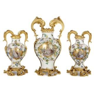 Meissen porcelain three-vase garniture with ormolu mounts