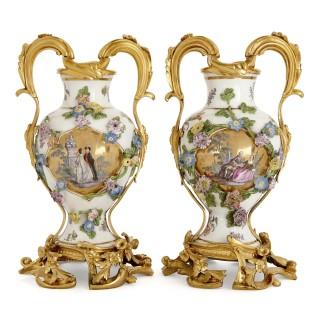 Meissen porcelain three-vase garniture with ormolu mounts