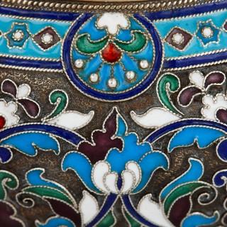 Cloisonné enamel and silver Russian Kovsh
