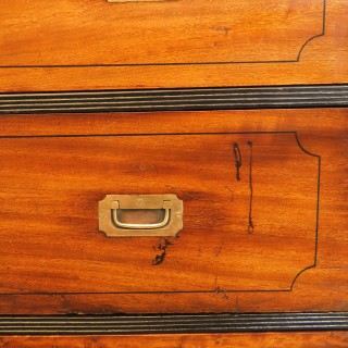 Mid 19th Century Camphor Wood Military Campaign Chest Of Drawers