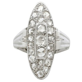 1.48ct Diamond and 18ct White Gold Marquise Ring - Antique Circa 1930