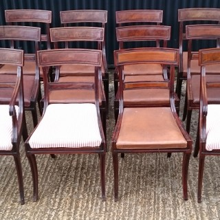 Set of Twelve Early Nineteenth Century Regency Mahogany Antique Dining Chairs