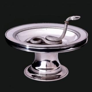 A Giacinto Melillo silver snake dish