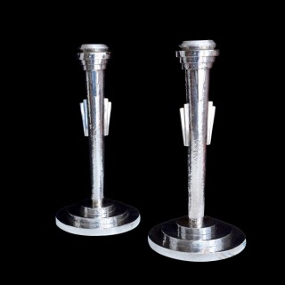 A rare pair of art deco silver candlesticks