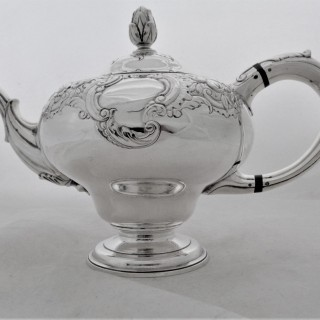 Fine chased George II Scottish silver pear shaped teapot Edinburgh 1758 William Dempster