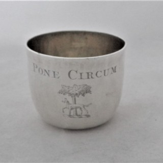 Rare crested Queen Anne Britannia silver tumbler cup London 1711 Richard Bayley