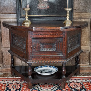 James I oak inlaid folding table cupboard