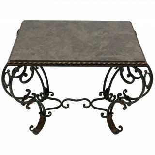 A FRENCH WROUGHT IRON & MARBLE TOP OCCASIONAL TABLE
