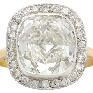 5.73ct Diamond and 18ct Yellow Gold, 10ct White Gold Set Dress Ring - Antique and Vintage