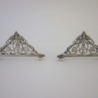 Antique Victorian Sterling silver menu holders