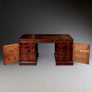 George III Chippendale Period Mahogany Partners Desk