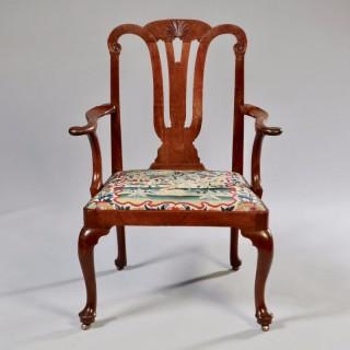 George II Irish Walnut Arm Chair of Generous Proportions