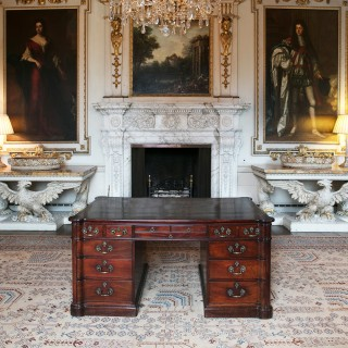 George III Mahogany Partners Desk or Library Table
