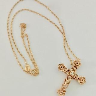15ct Gold and Diamond Cross