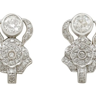 3.03ct Diamond and 18ct White Gold Earrings - Art Deco - Antique Circa 1930