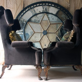 A Fine & Unusual Pair of Queen Anne Style Wingback Armchairs; Ex. Croxton Park House c.1890