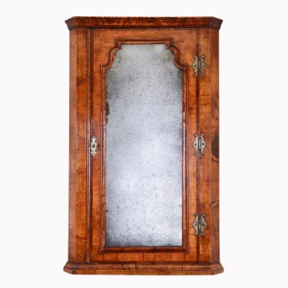 Queen Anne Walnut Corner Cupboard with Beveled Mirror Plate