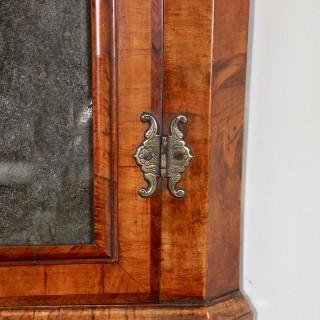 Queen Anne Walnut Corner Cupboard with Beveled Mirror Plate