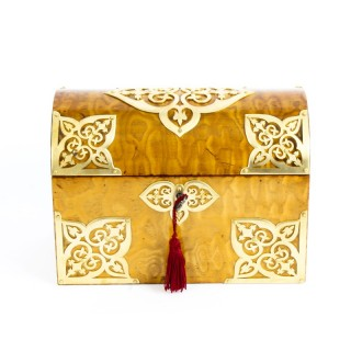 Victorian Spalted Ash Stationery Box with Domed Lid & Brass Strapwork C1880