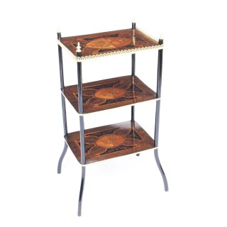 Antique French Marquetry & Ormolu Three-tier Etagere Table c.1860