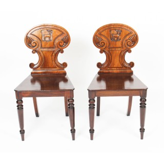 Antique Pair of Victorian Mahogany Hall Chairs c.1860 19th Century
