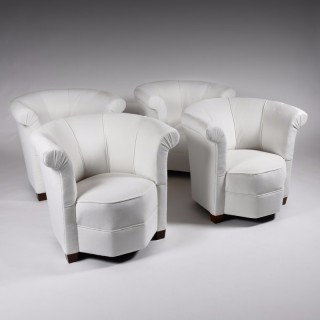 Set of Four Art Deco Shaped Tub Armchairs