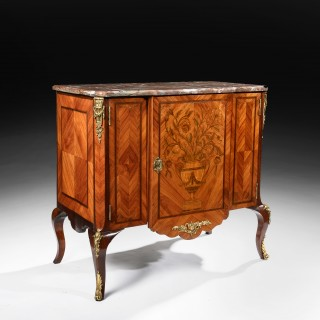 Fine Pair of 19th Century Gilt Bronze Mounted Tulipwood and Marquetry Marble Topped Commodes.