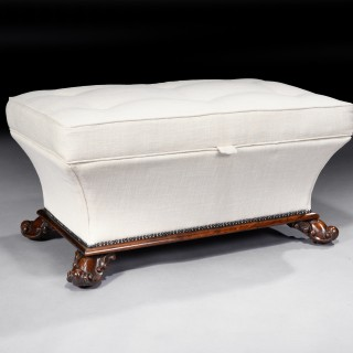 19th Century Rosewood Shaped English Country House Ottoman
