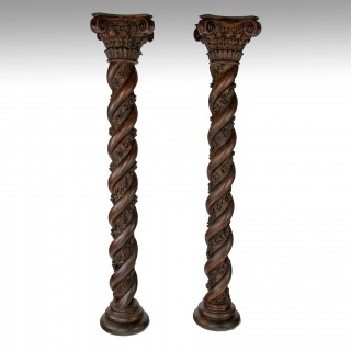 Magnificent Pair of 7ft Victorian Twisted Carved Corinthian Columns.