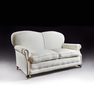 Late Victorian Antique Two Seater Linen Sofa