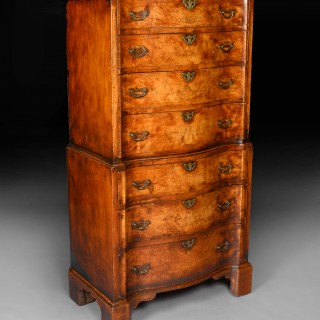 Quality Early 20th Century Walnut Serpentine Chest on Chest