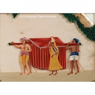 Set of Four COmpany School Mica Palanquin Paintings