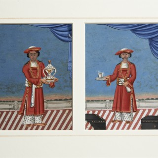 HEIC School Mica Paintings - Pair of Servants with Card Background